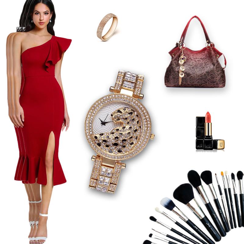 MISSFOX 30m Life Waterproof Gold Women Quartz Watch Fashion Bling Casual Ladies Watches Crystal Diamond Leopard for Women Clock (15)