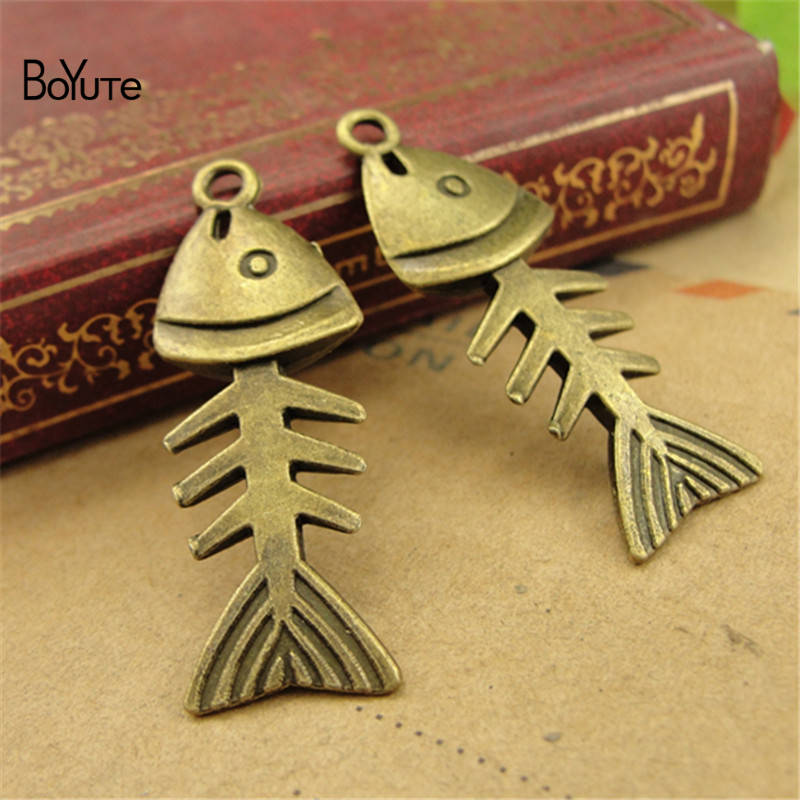 BoYuTe (50 PiecesLot) Vintage Fish Bone Jewelry Pendant Charms European Popular Halloween DIY Alloy Materials Accessories (5)