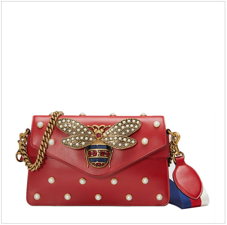 [Yang Mi with the paragraph] Ms. red leather bee lock pattern shoulder bag red red red red