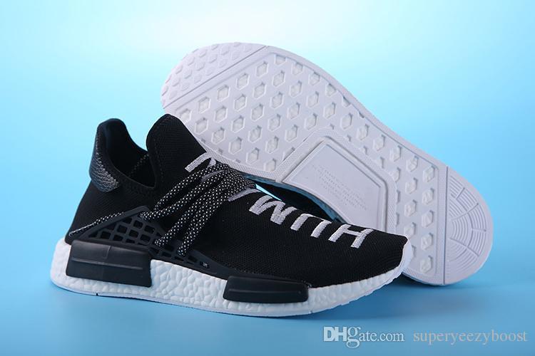 Nmd 2019 Course Humaine Pharrell Williams X Hommes Femmes Chaussures de Course Noir Rouge Jaune Bleu Vert Gris Baskets De Sport 39-46