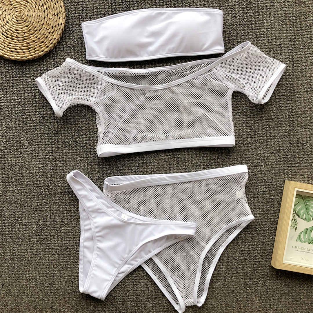 Sexy Mesh Female Swimsuit High Waist Bikini 2019 Women Swimwear Bikini set Off Shoulder Bather Bathing Suit Swim V982 LY191224