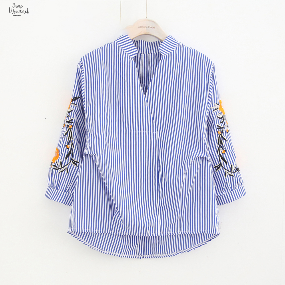 Damen Revers Stickerei Langarm Blume Beiläufig Bluse Hemd Shirt Tops Oberteil