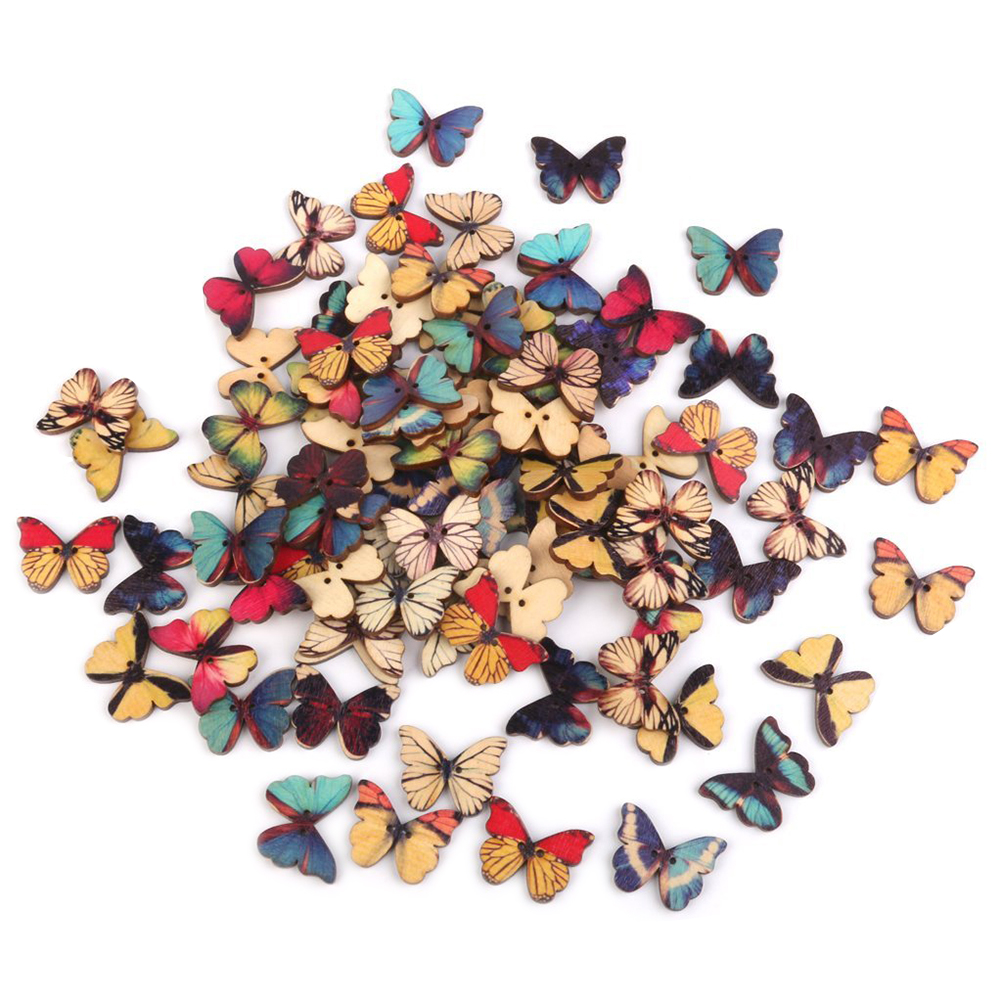 100pcs 2 hole Butterfly Resin Buttons Clothing Sewing Scrapbooking Decor 13x11mm
