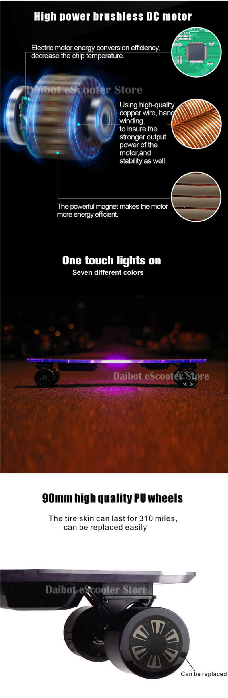 Daibot Electric Longboard Skateboard 4 Wheel Electric Scooters 300W2 36V Adult Powerful Electric Scooter With Colorful Lights (5)