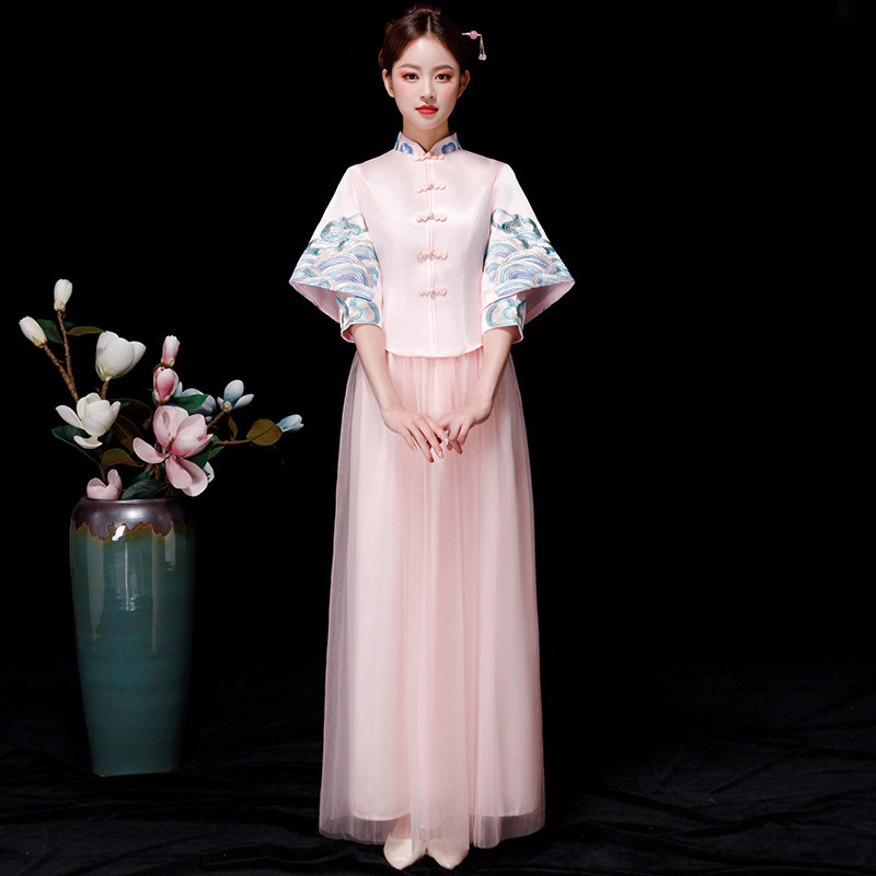 Bride Bridesmaid Chinese Style Cheongsam Pink Wedding Qipao Vintage Oriental Asian Beauty Dress Long Evening Gowns Women S-xxl