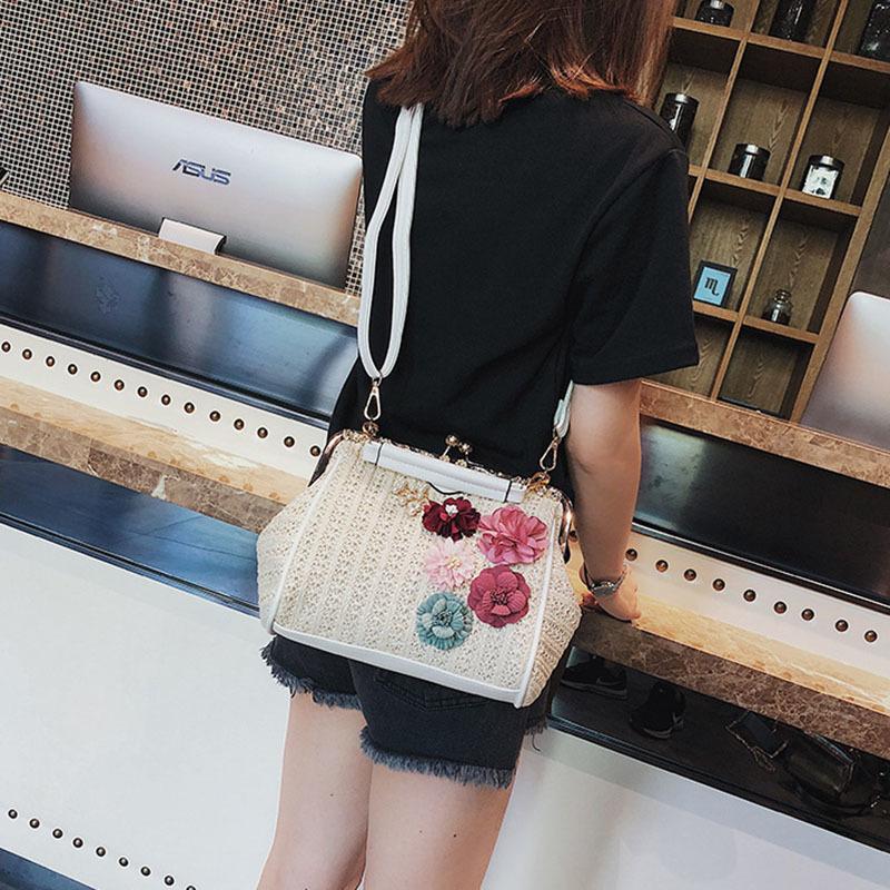 Women Pearl Handbag INS Popular Female Summer Flower Straw Bag Lady Fashion Shoulder Bag Travel Beach Woven Crossbody Bag SS7220 (14)