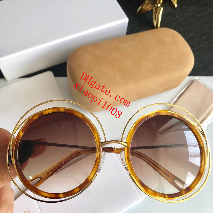women luxury designer sun glasses New High Quality Fashion Retroang Chioe Brand Golden Frame Brown Spectacle Uv400 Protective