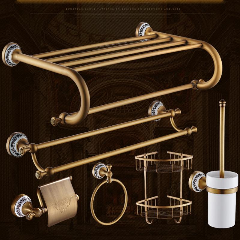 Quyanre Bathroom Hardwares Antique Brass Luxury Bathroom Accessory paper Holder Toilet Brush Rack Commodity Basket Shelf Soap Dish Towel Ring1