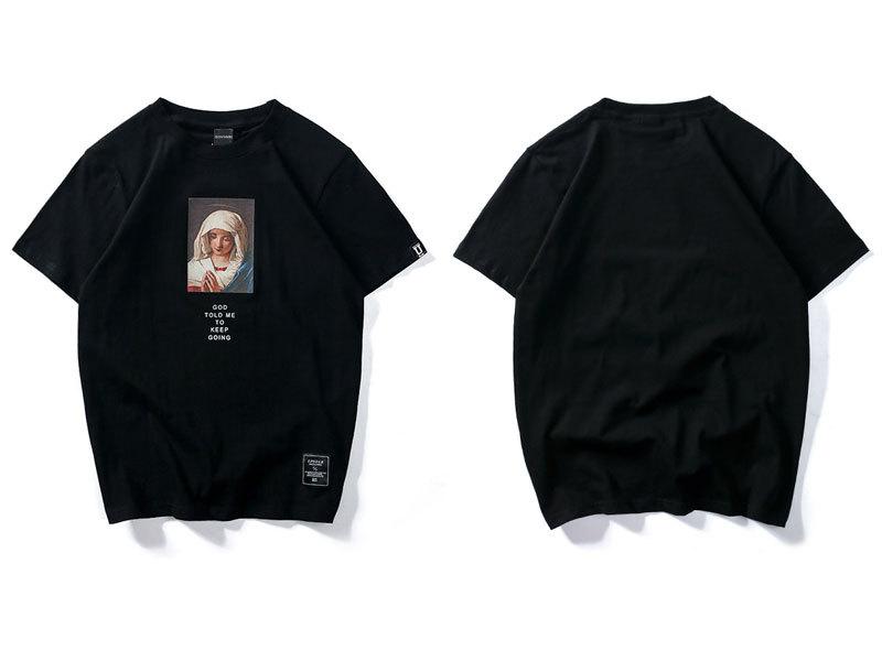 Virgin Mary Printed Short Sleeve T Shirts 2