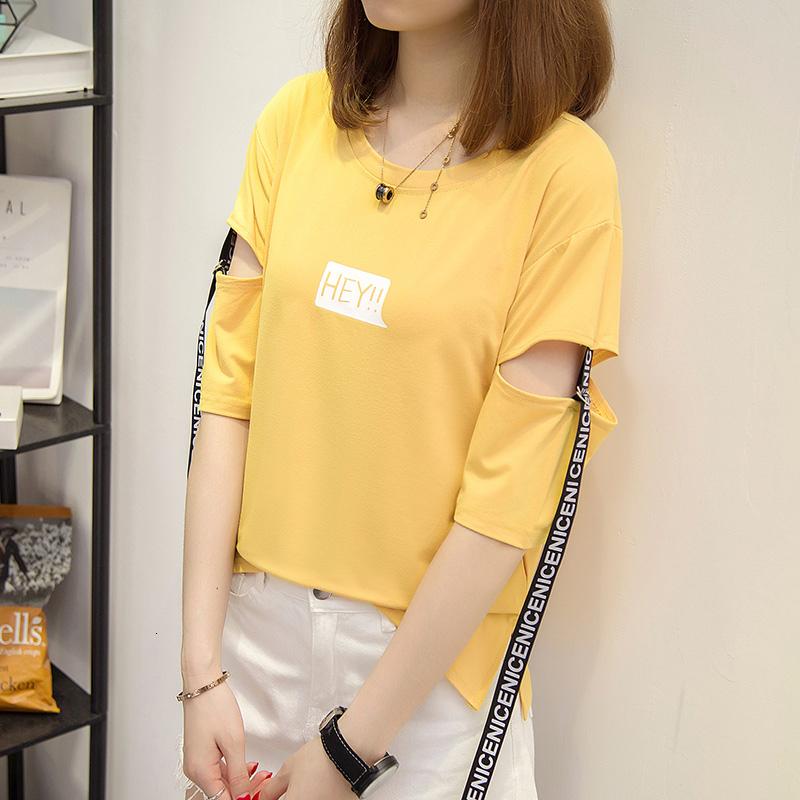 Kadınlar Casual Kısa Beyaz Gömlek Tops için Kadın Yaz Tişörtlü 2019 Kore Baskılı Mektupları Harajuku Hollow Patchwork Tişörtlü