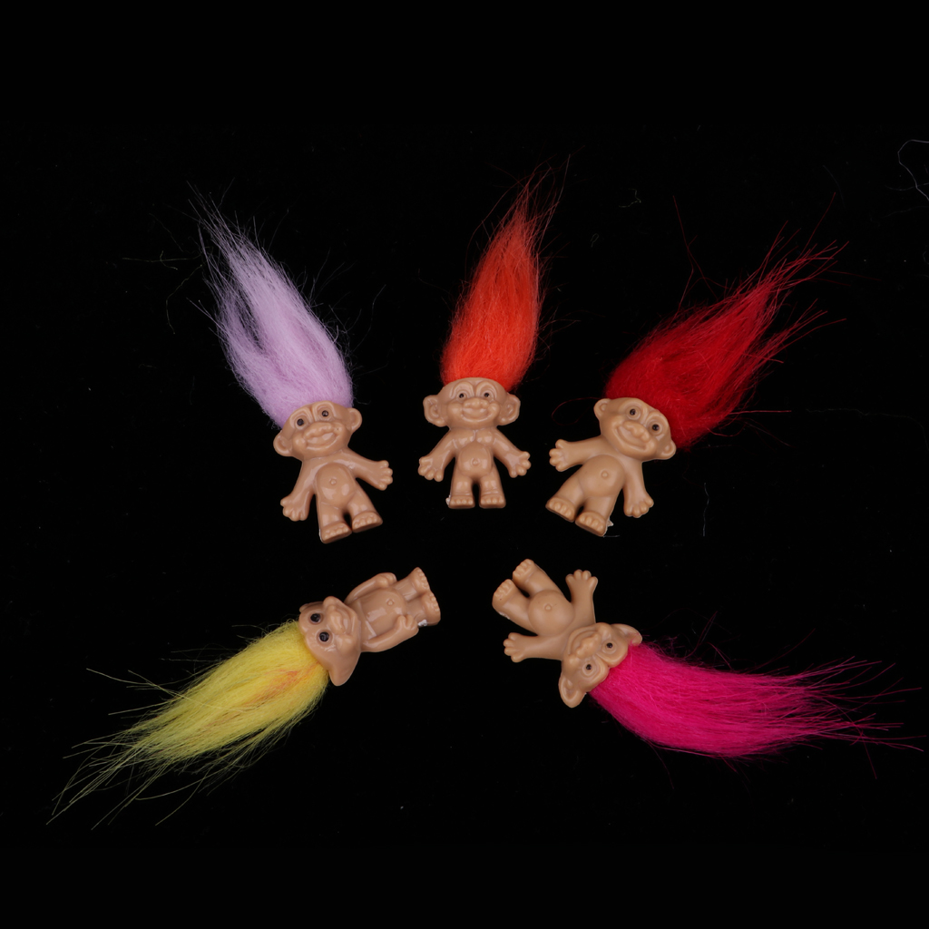 5 Sets 25 Pieces Dollhouse Miniature Retro Troll Doll Leprocauns Figures Toy Cake Toppers Kids Children School Projects