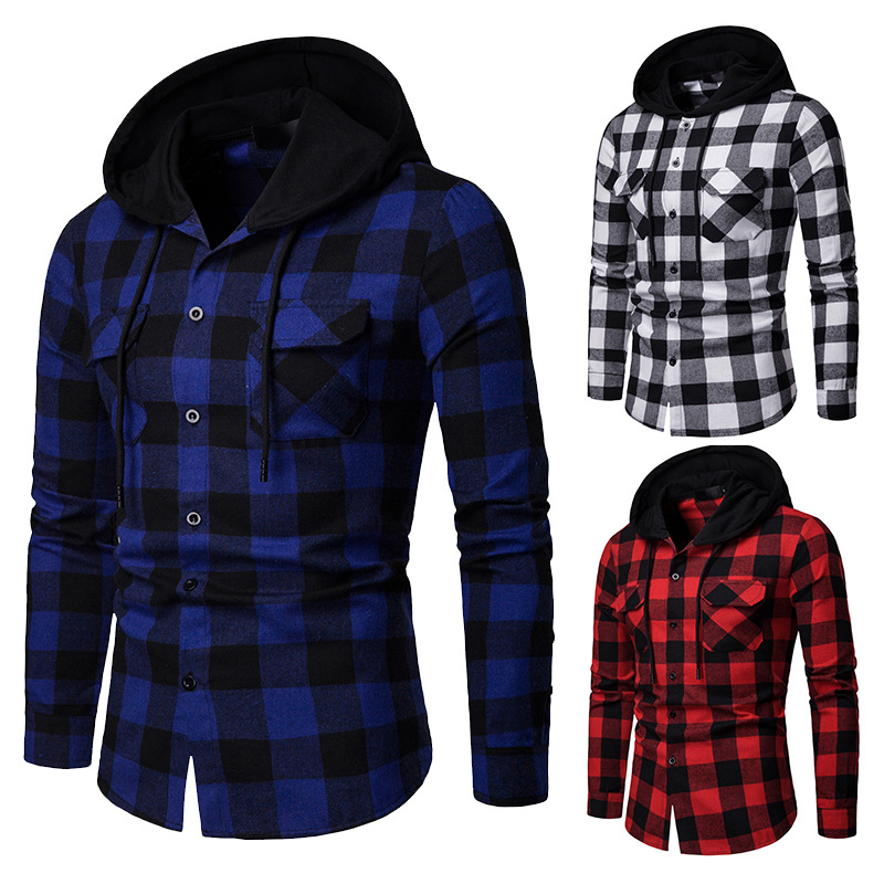 Alion Mens Long Sleeve Button Down Hooded Casual Check Plaid Shirt Tops