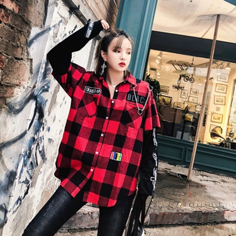 Red And Black Plaid Patchwork Shirt Men (34)