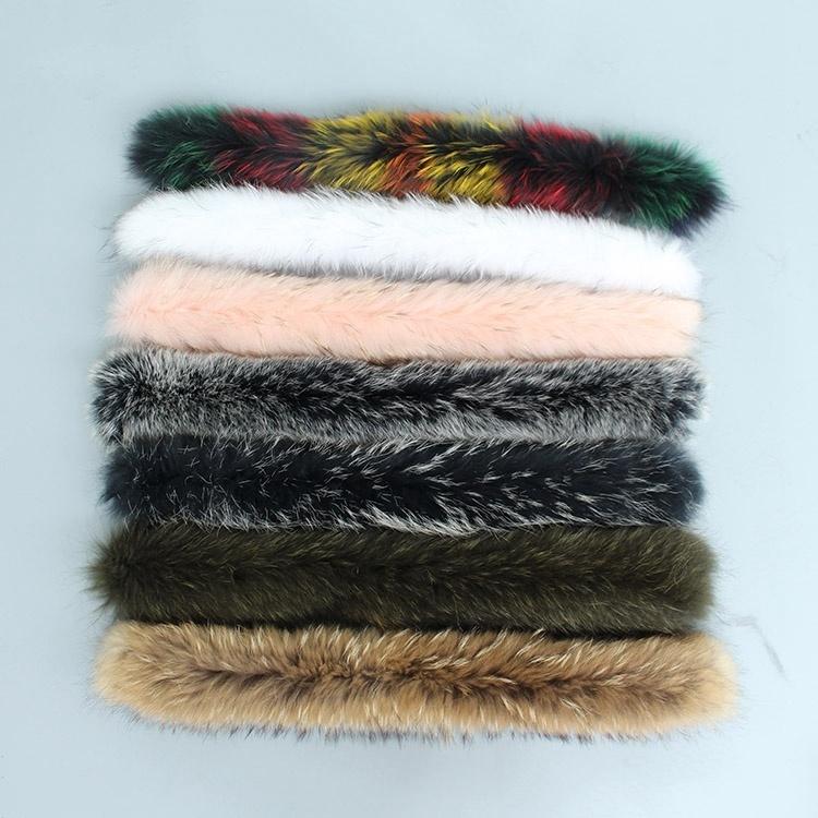 natural real raccoon fur hoody trim collar (1)