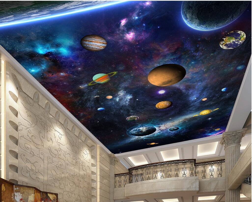 WDBH 3d Wallpaper Custom Photo Colorful Cosmic Space Planet Ceiling Murals Room Home Decor 3d Wall Room Murals Wallpaper For Walls 3 D