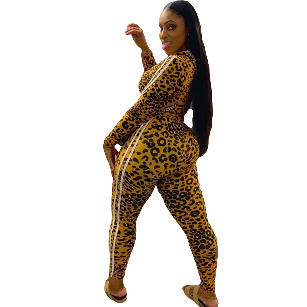 B3015 Women's Clothes Autumn Leopard Print Motion Two Piece Set A19827