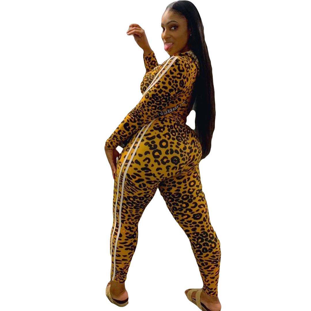 B3015 kadın Giysileri Sonbahar Leopar Baskı Hareket Iki Parçalı Set A19827