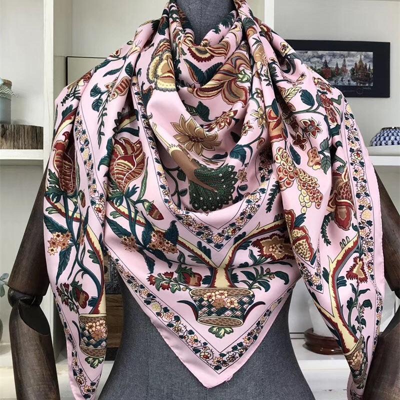 INS Flowers Plants Lake Blue Twill Silk Scarf Women Floral Hijab Female Beach Shawl&Wrap Large Foulard Square Scarves 130*130cm