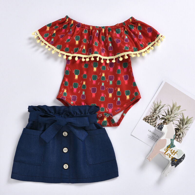Toddler Newborn Baby Girl Off Shoulder Romper Sunflower//Pineapple Short Sleeve Bodysuit Tassel Headband Set Summer Clothes