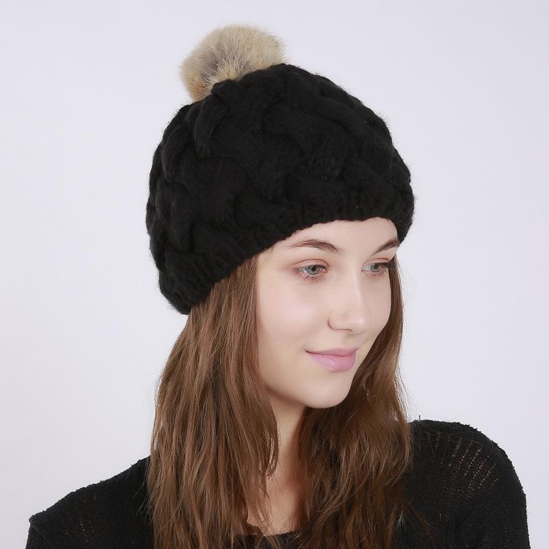 Winter Schirmmütze aus Hasenfell für Damen Mütze//Hut//Ballon//Kappe in weiß NEU