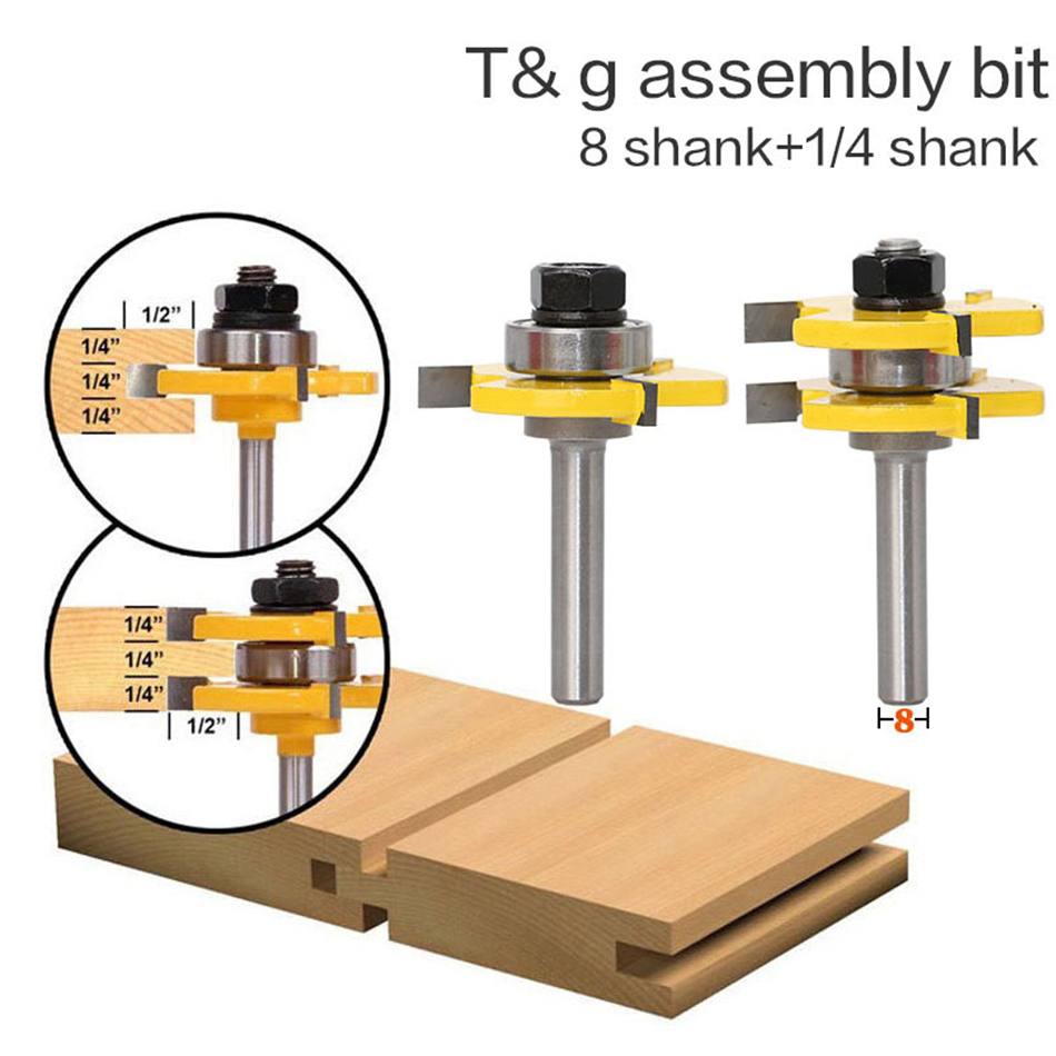 "1-1/2"" 2 Bit Tongue and Groove Router Bit Set - Joint Assembly Router Bit Set 1-1/2"" Stock Wood Cutting Tool"