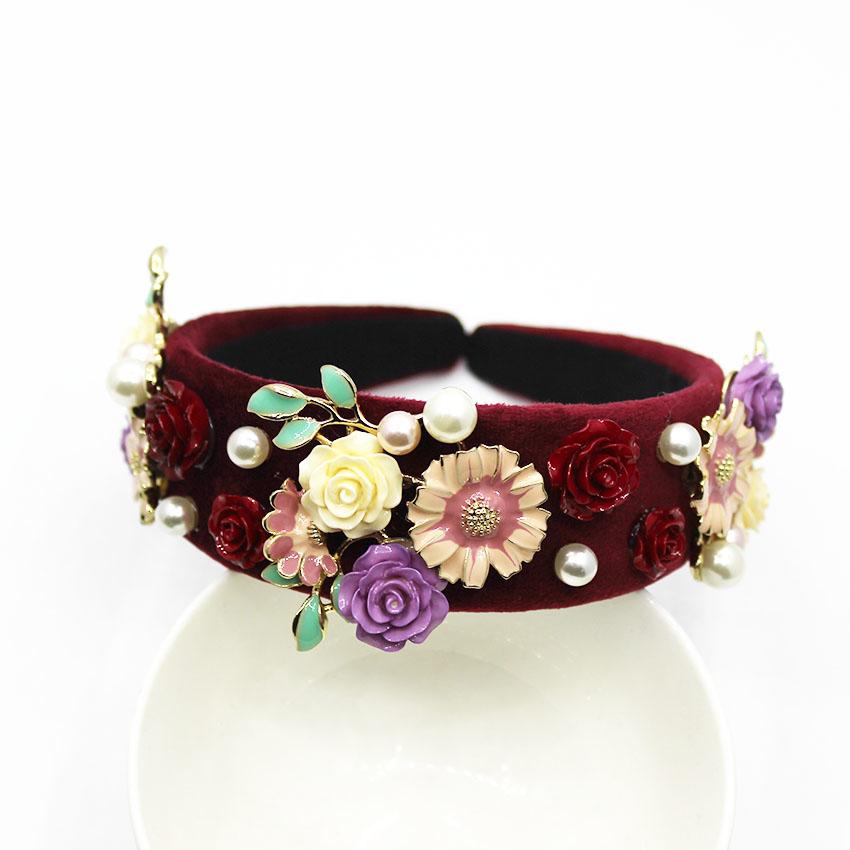 Nuovo vintage barocco tiara corona fiore rosso fascia lusso copricapo regina accessori capelli da sposa gioielli capelli da sposa1020 MX190816