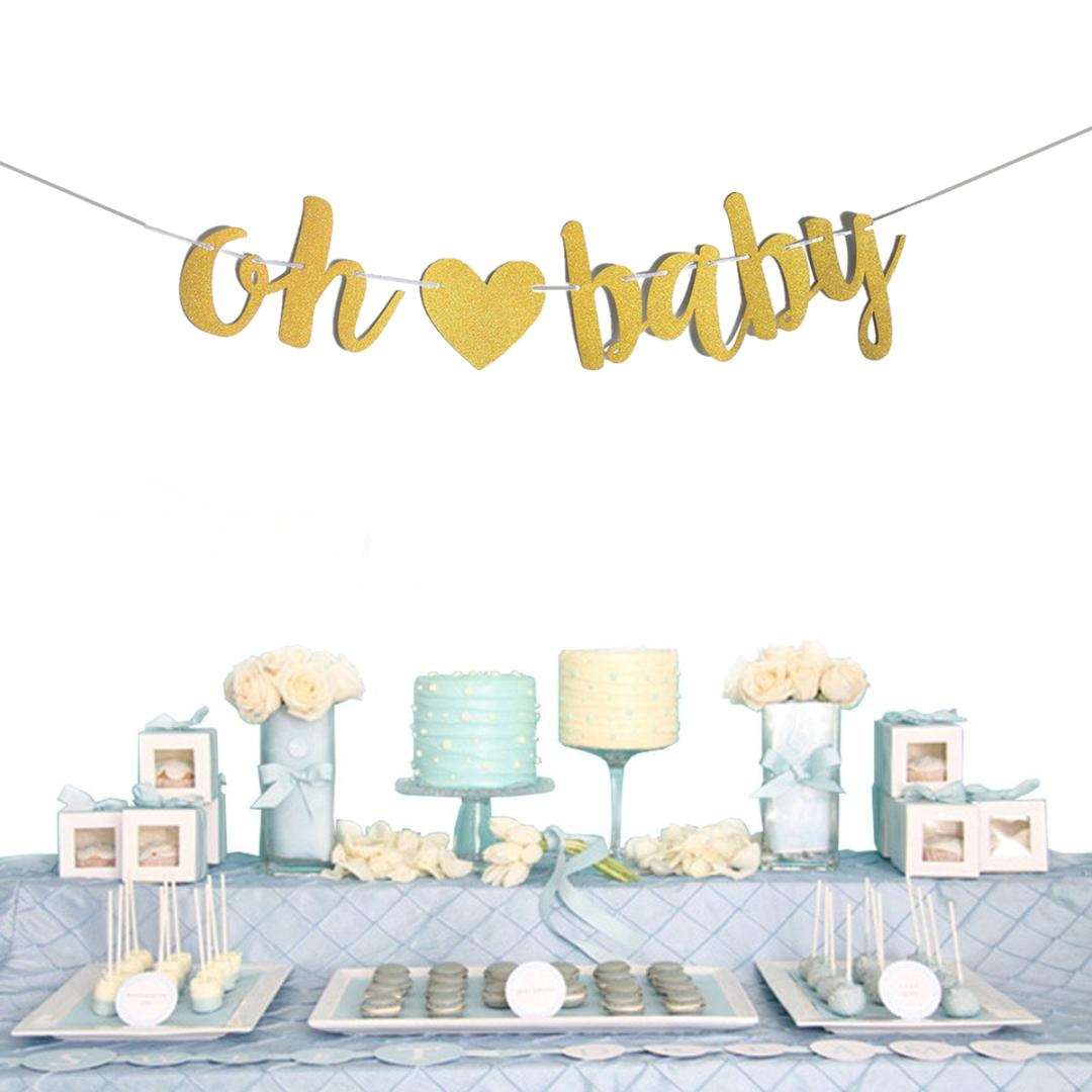 Oh Baby Baby Shower Garland Bunting Banner for Party Wall Stylish Decorations Sparkly Golden Glitter Letters Bunting Balloon Red