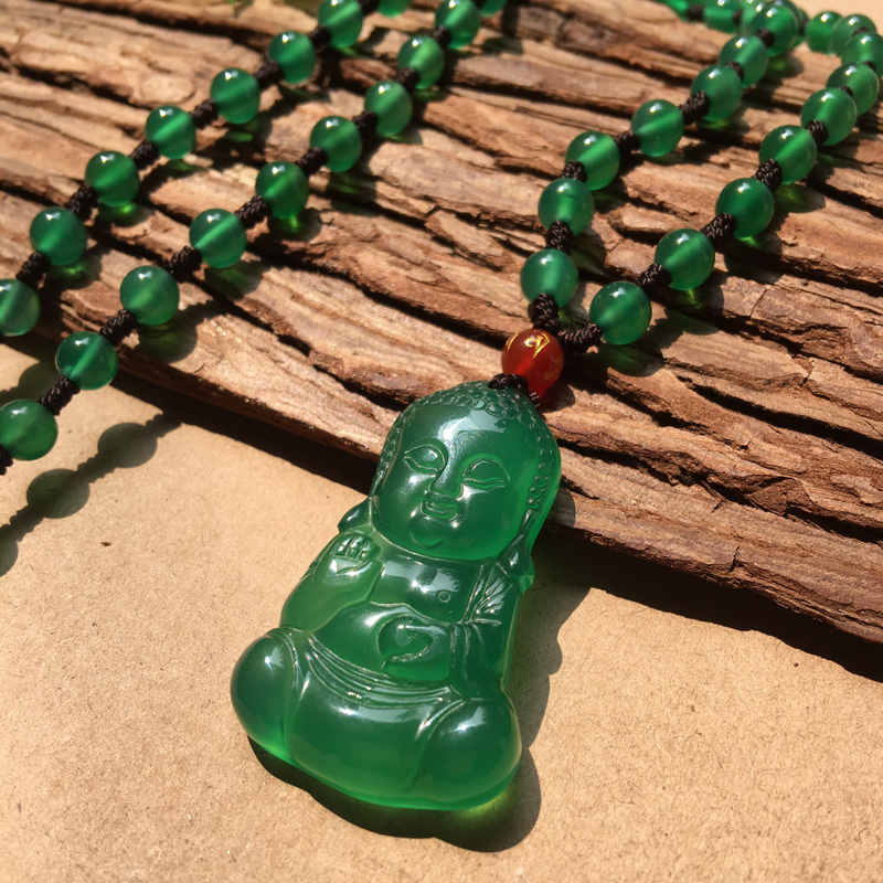 Natural Emerald Jade Buddha Chalcedony Pendant Necklace Sweater Chain Jewelry Gift Wholesale