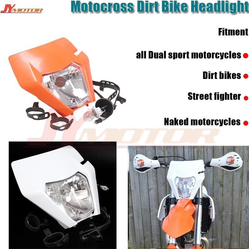 Black Dirt Bike Supermoto Headlight Kit Motorcycle LED Head Lamp Light H4 12V 35W Hi//Lo For Honda Yamaha Suzuki KTM Kawasaki Motocross Enduro Pit Bike Scooter Universal