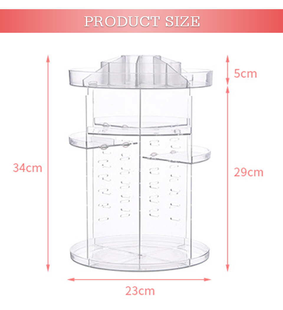 Makeup Organizer 360 Rotating Adjustable Storage Box Plastic Clear AcrylicTransparent Box Jewelry Necklace Nail Polish Cosmetic (3)