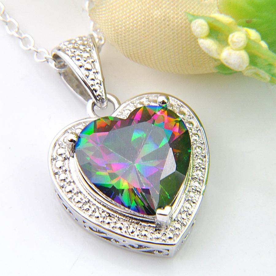 925 Silver Huge Mystic Rainbow Tourmaline Topaz Pendant Chain Choker Necklace