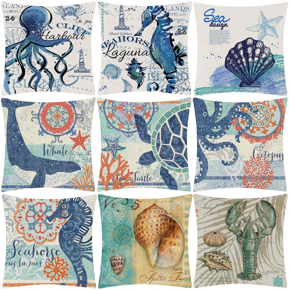 Pulpo colorida vida Marina Azul Tela De Algodón FQ
