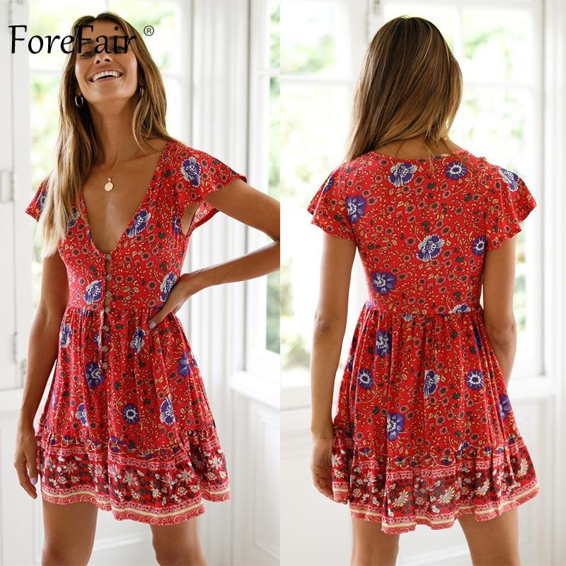 Forefair Retro Boho Dress Mini Summer Sexy A Line Red Floral (3)