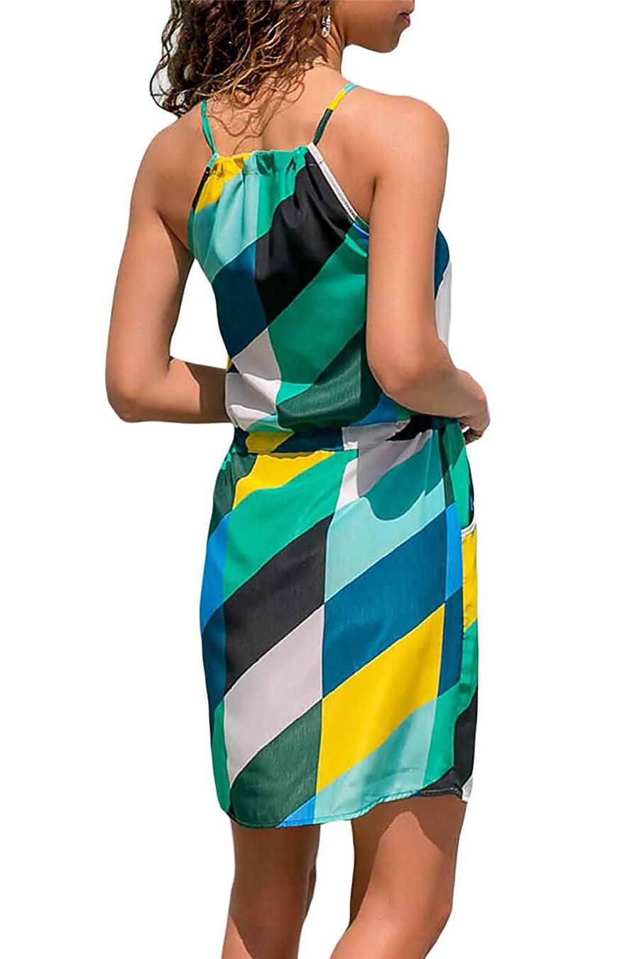 Gladiolus Chiffon Women Summer Dress Spaghetti Strap Floral Print Pocket Sexy Bohemian Beach Dress 2019 Short Ladies Dresses (34)