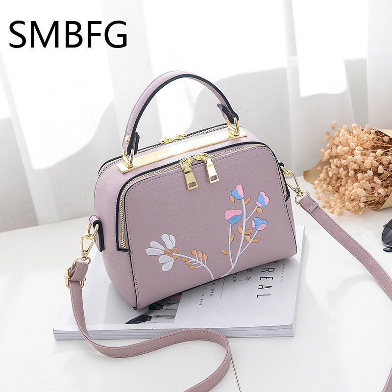 Floral Embroidery Women Leather Handbag Flap Small Bags For Lady Girl 2017 New Design Crossbody Female Messenger Bags Y19061903