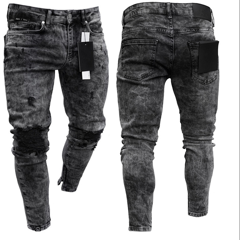 spyman Hole Metrosexual Straight Destroyed Jeans Brand Slim Casual Ripped Jeans Homme Retro Mens Denim Trousers Cotton