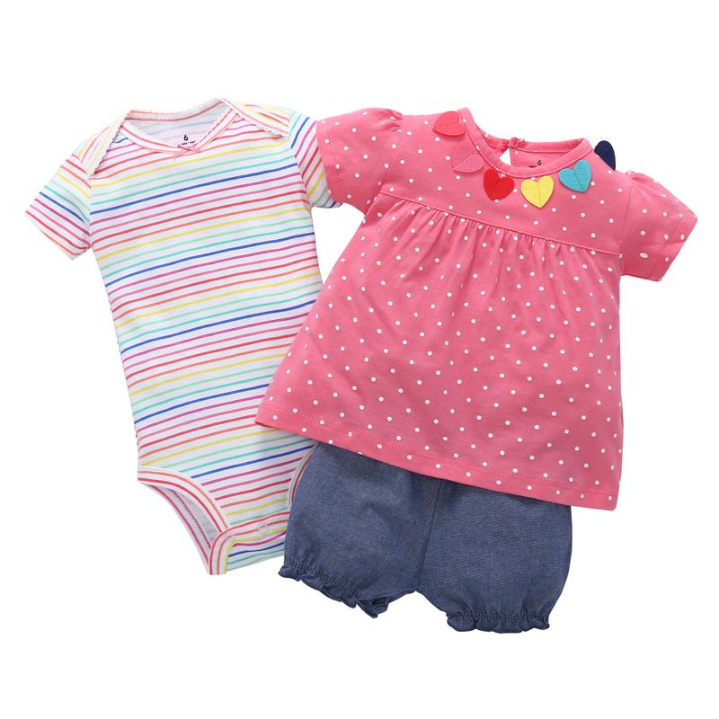 6-24M infantil baby girl clothes cotton short sleeve polka dot T-shirttee+romper stripe+shorts baby newborn 3PCS clothing set