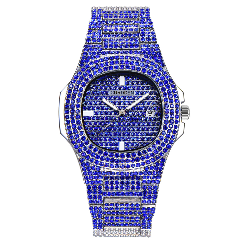 bling diamonds watches for unisex fashion women watch men business stainless steel clock hours free shipping (7)