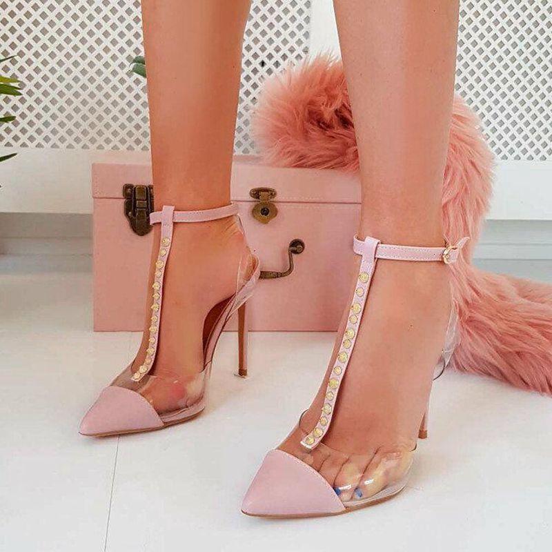 Wedding2019 Women Heels Sandals Transparent Willow Nail T Type High-heeled Shoes