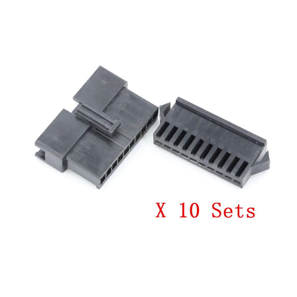 100Pcs 9p Cable De Alambre Dupont Jumper Carcasa Hembra Pin Conector 2.54mm Pitch \