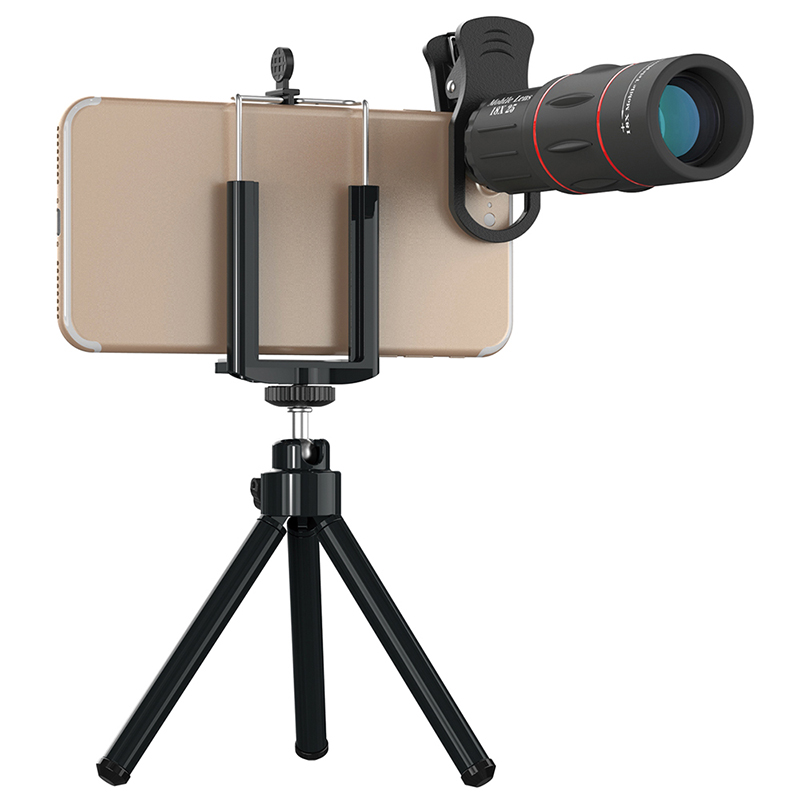 TOKOHANSUN 18X Telescope Zoom Mobile Phone Lens for IPhone X Samsung Smartphones Universal Clip Telefon Camera Lens with Tripod