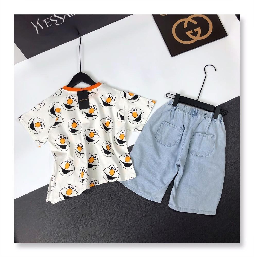 Crianças roupas de grife crianças terno meninos e meninas de manga curta shorts denim terno puro material de algodão terno duas cores opcionais