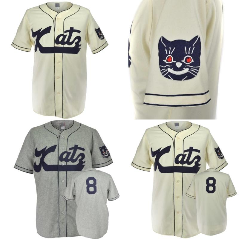Kansas City Katz 1961 Road Home Jersey 100% Stitched Embroidery Vintage Baseball Jerseys Custom Free Shipping