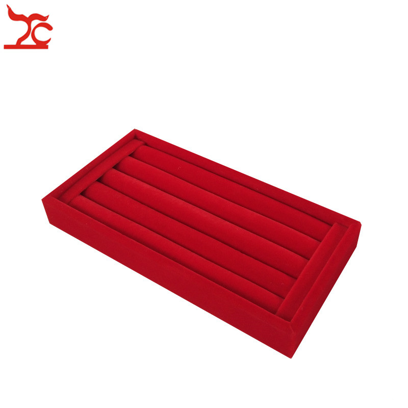 Quality White PU Ring Jewelry Display Case Red Velvet Earring Bead Bracelet Storage Organizer Box Wooden Ring Bar Tray 11*22 CM