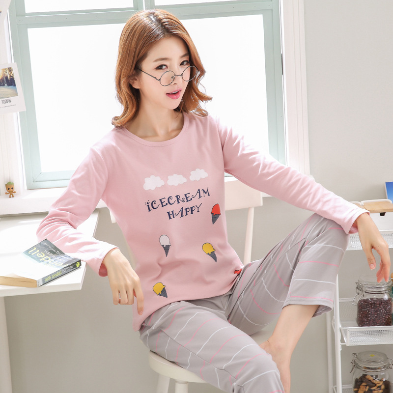 Otoño Nuevo Algodón de Impresión de Solapa Superior + Pantalón Largo Conjuntos de 2 Piezas Para Mujeres Ropa de Dormir Linda Pijama de Niñas M L Xl Xxl Xxxl