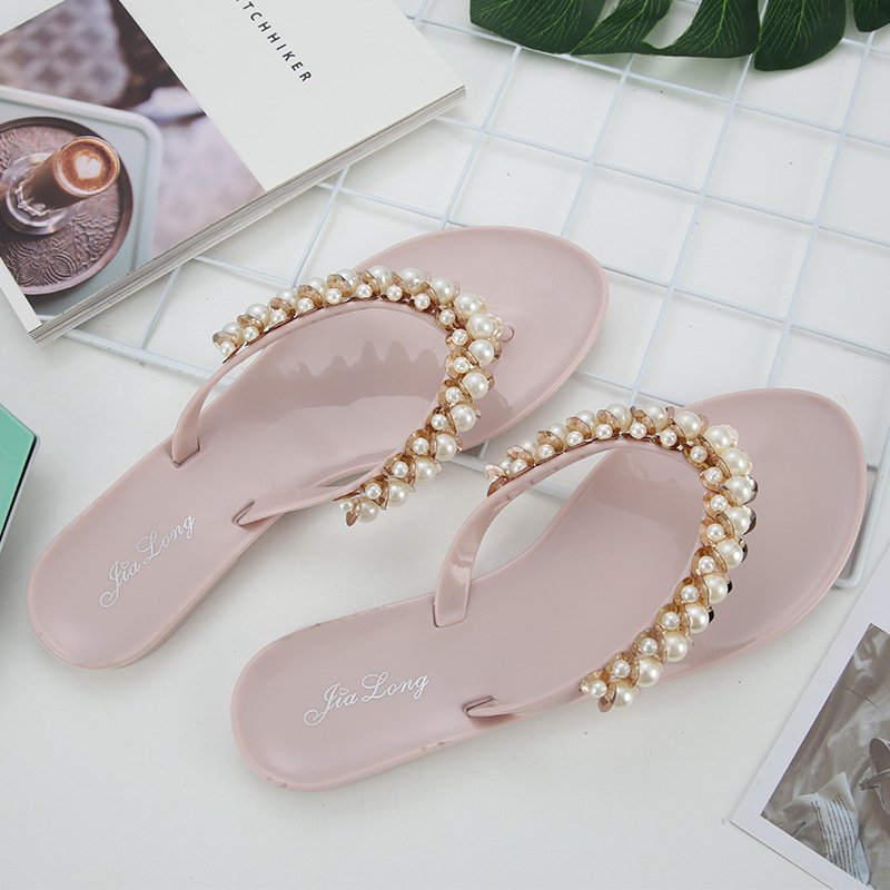 1Pearl String Bead Outside Elegant Shallow Women Slippers Summer Crystal Beach Pointed Toe Flat Flip Flops Solid Soft Shoes