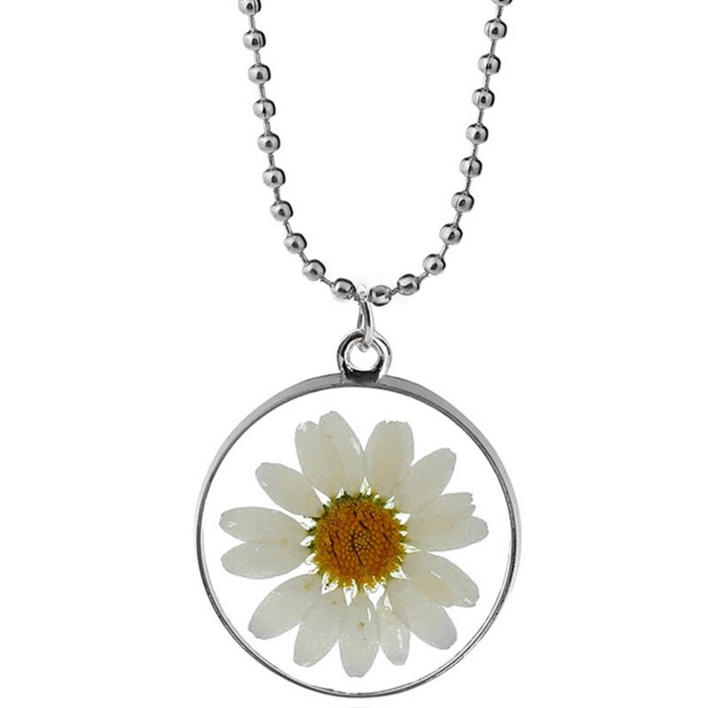 2019 Hot Transparent Résine Coloré séché Fleur Daisy ronde collier pour femmes