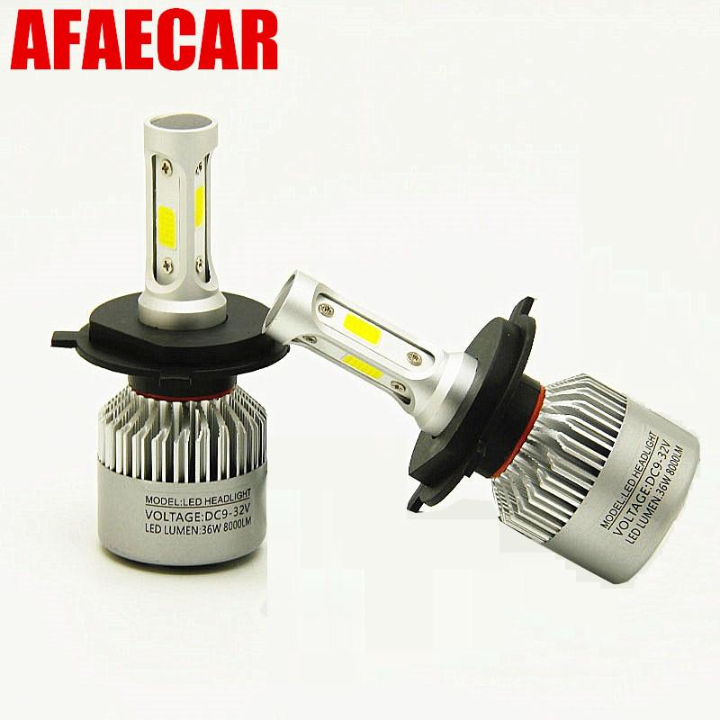 1PCS H4 9003 HB2 36W 8000LM Car LED Headlight Bulbs COB kit 6500K White New GW