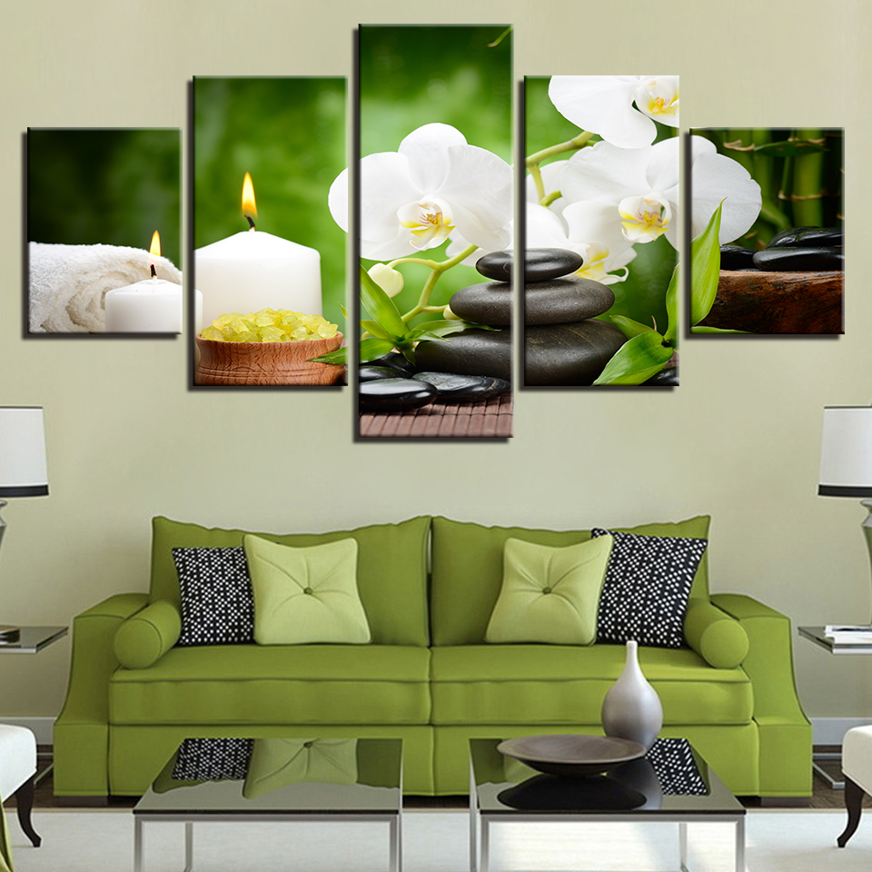 Large Poster HD Printed Canvas Painting Candle Wall Art Modular 5 Panel Beautiful Flower Pictures For Living Room Home Decoration