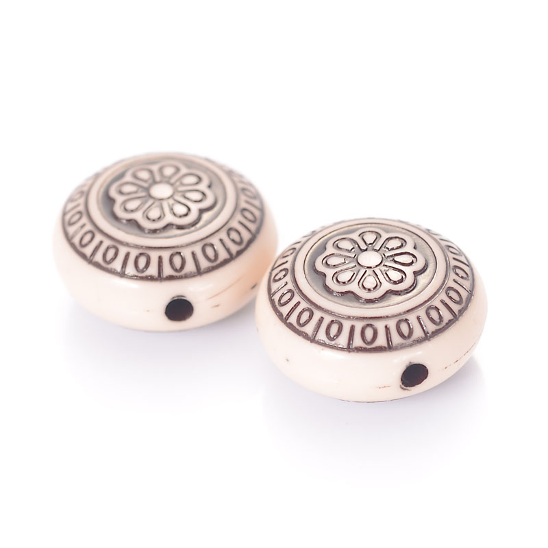 20pcs CCB Style Acrylic Beads Carved Flat Round Loose Spacer Antique Silver 13mm